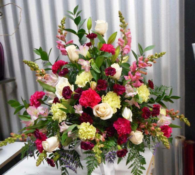 abbotsford florist-buckets flowers-lovely sympathy arrangement - Buckets Fresh Flower Market