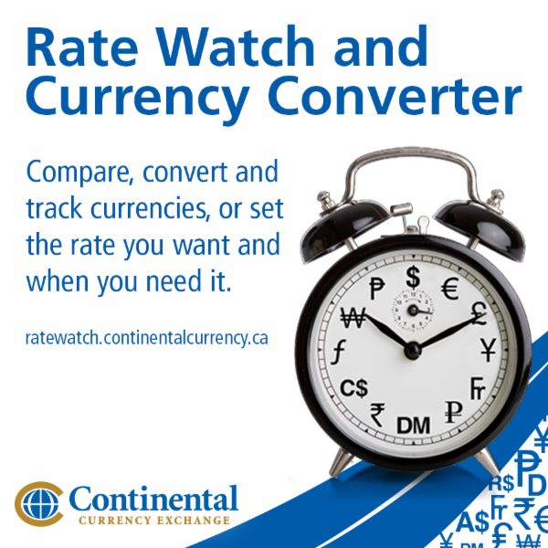 FREE Rate Watch and Currency Converter at https://ratewatch.continentalcurrency.ca/. Track live exchange rates, follow long term trends and compare different currencies. - Continental Currency Exchange