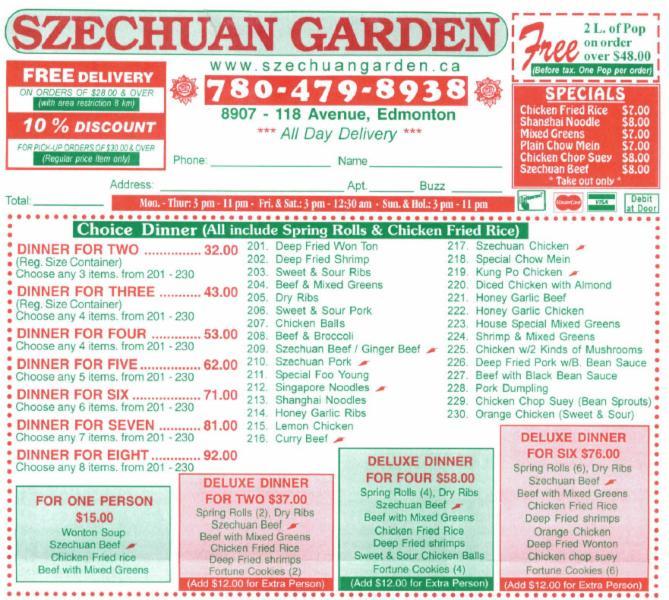 Szechuan Garden Edmonton Ab 8907 118 Ave Nw Canpages