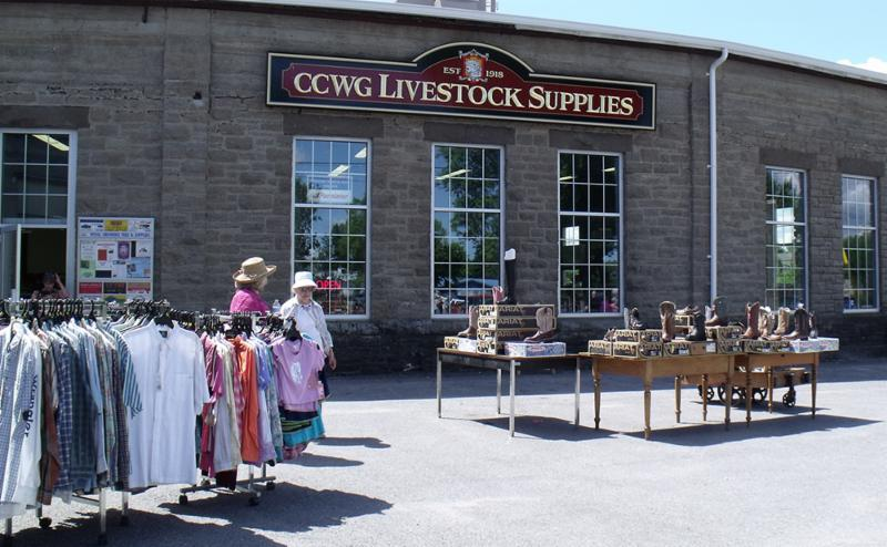 Livestock store side walk sale for Lambsdown Park Festival held annually in mid June.