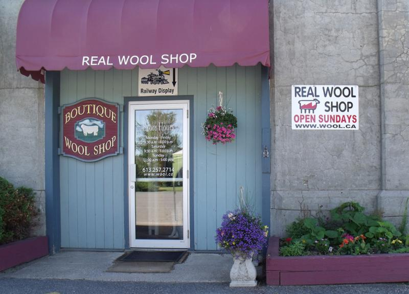 Front door of the Real Wool Shop in Carleton Place.