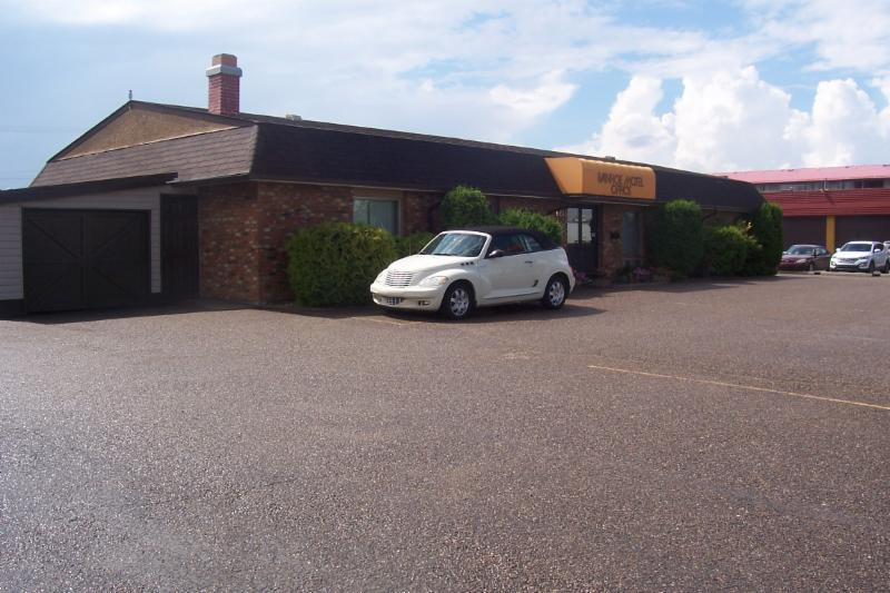 Motel lobby is at the front of the building with our guest rooms off the street for a quiet night sleep