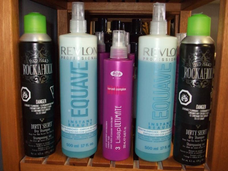Shampooing sec ROCKAHOLIC      Traitement démêlant  EQUAVE de Revelon      Spray Revitalisant LISAP ULTIMATE