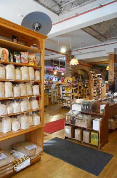 All your baking needs, a wide variety of flours, rice, grains, beans,  and lentils.