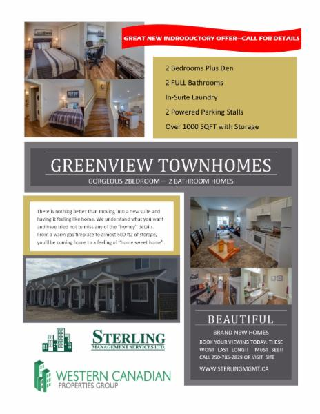 EXECUTIVE TOWNHOMES AVAILABLE NOW IN THE HIGHLY SOUGHT AFTER NEW SUBDIVISION PANORAMA HEIGHTS - Sterling Management Services Ltd