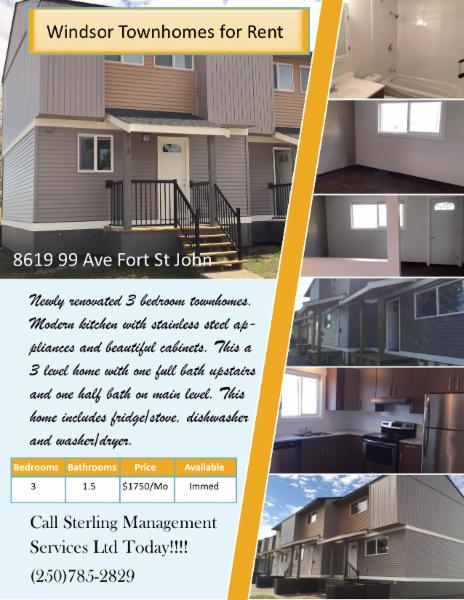 Call today for more details on these wonderful newly renovated units - Sterling Management Services Ltd