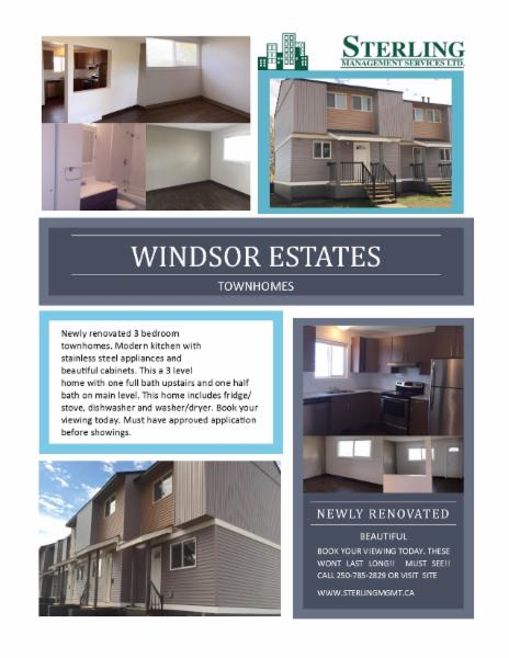 GREAT NEWLY RENOVATED 3 BEDROOM TOWNHOUSES AVAILABLE NOW AT A GREAT RATE - FURNISHED OPTIONS AVAILABLE AS WELL - Sterling Management Services Ltd