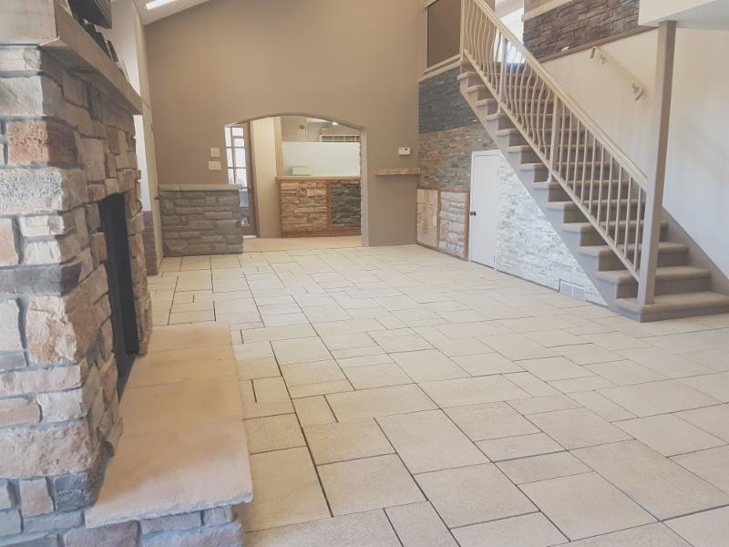We have recently re-done the interior of our downstairs showroom to show off interlocking pavers and thin veneer stone.