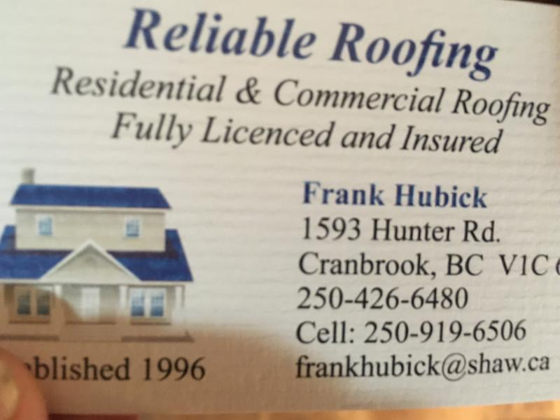 Reliable Roofing Cranbrook Bc 1593 Hunter Rd Canpages