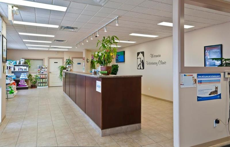 Reception area with a wide variety of products for your pet. - Warman Veterinary Clinic