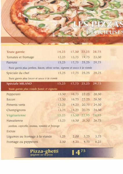 Menu Restaurant Prince Pizzeria Sorel