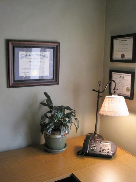 office area and certifications - Heart Lake Massage Therapy Clinic
