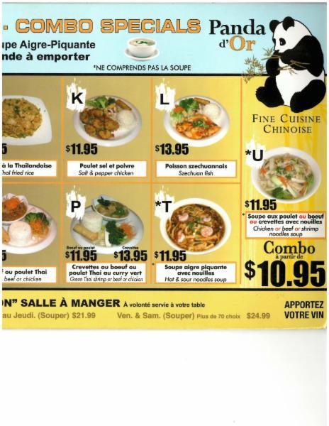 Panda Peng Restaurant Laval Menu