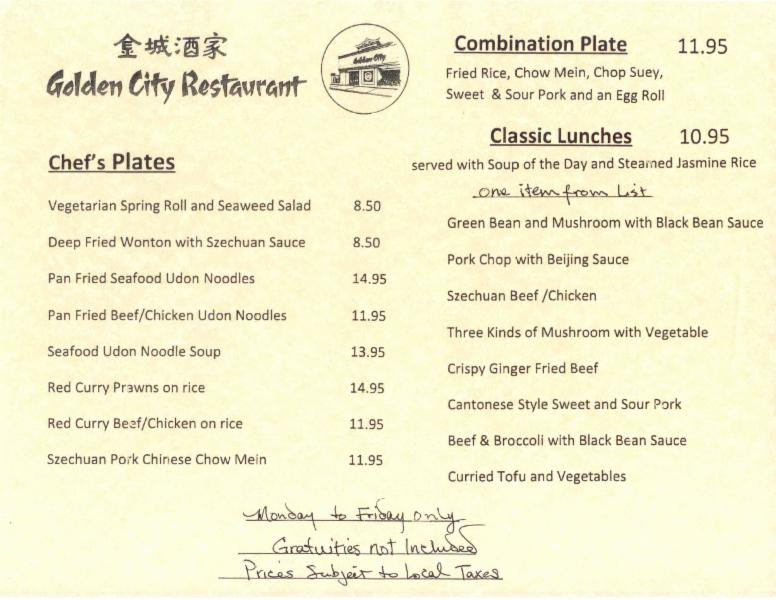 Golden City Restaurant Victoria Bc Menu