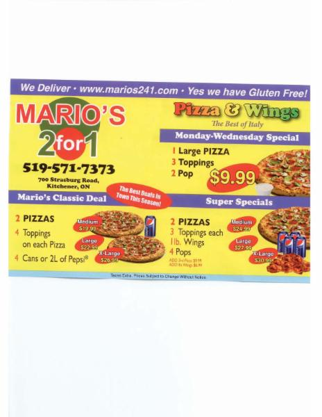 Mario S Pizza Amp Wings 2 For 1 27 700 Strasburg Rd