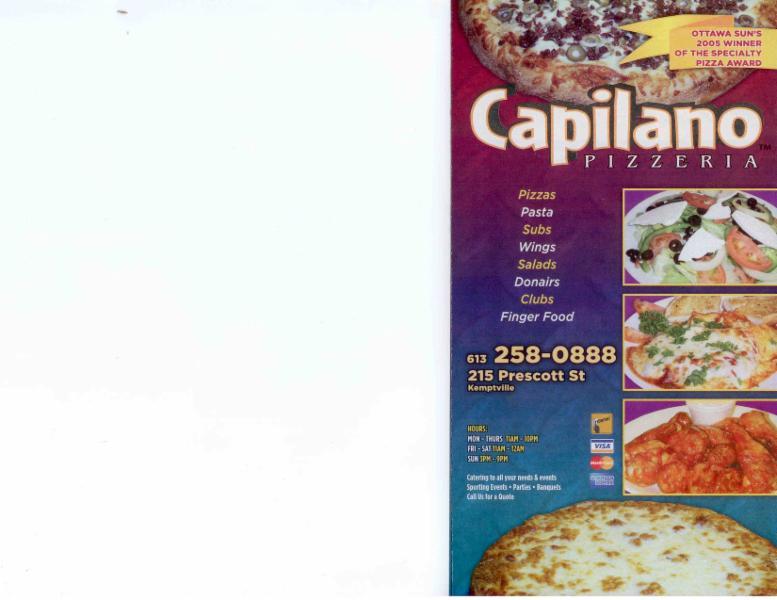 Menu Page 1 - Capilano Pizzeria