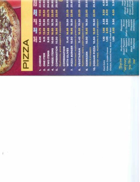 Menu Page 2 - Capilano Pizzeria