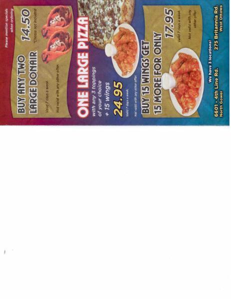 Menu Page 4 - Capilano Pizzeria