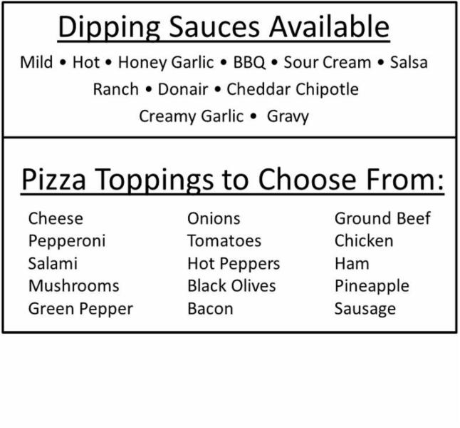 Dipping Sauces & Pizza Toppings