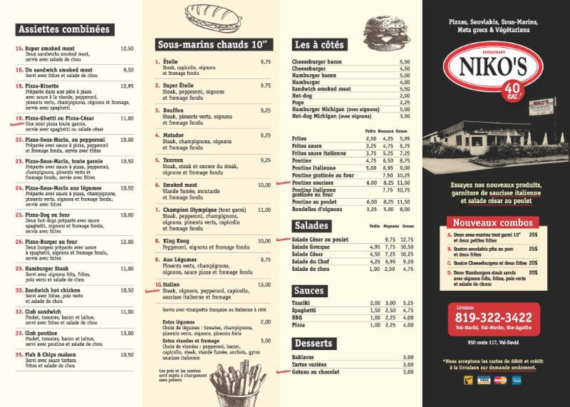 Niko S Restaurant Val David Menu