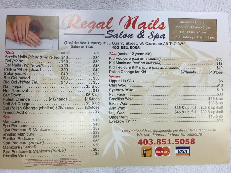 Regal nails inc opening hours 15 quarry st w gd stn for Acrylic nails salon prices