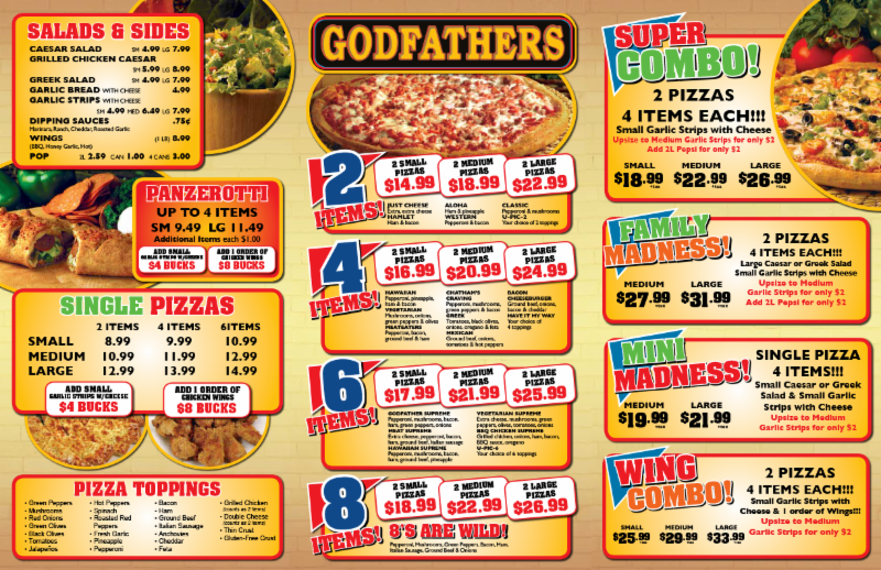 Menu - Godfathers Pizza