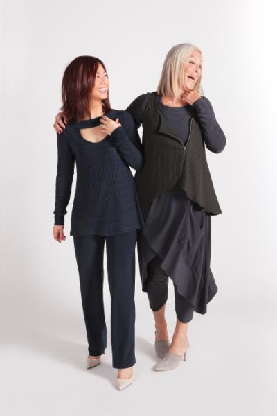 Sympli Peek A Boo Sweater, Essential Pant, Get Over it Smock, Sleeveless Drifter