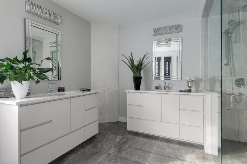 ensuite makeover - 2 vanities, frameless glass shower