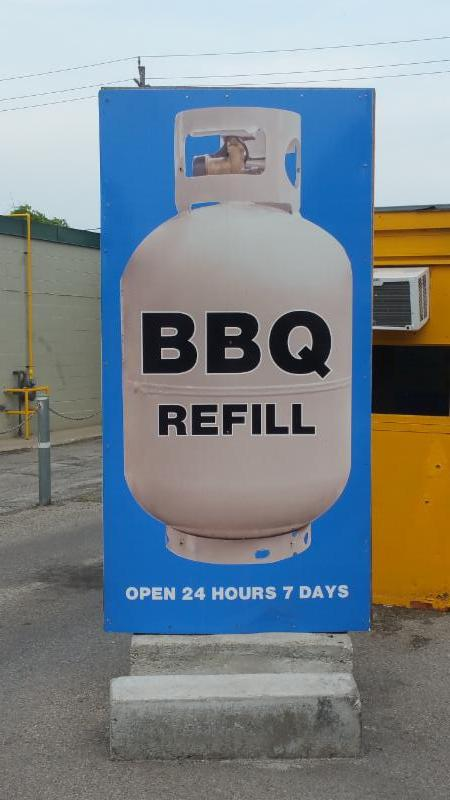 BBQ TANK REFILL     24 HOURS 7 DAYS    WEEK WE SELL BBQ TANKS WE TAKE YOUR OLD       BBQ TANKS AND  GIVE NEW FOR SOME MONEY