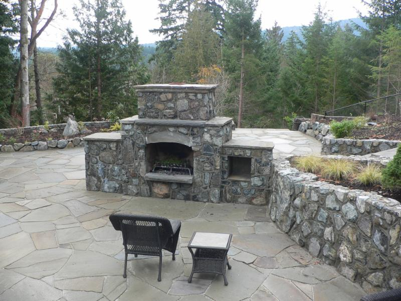 Out door living spaces and  out door fireplaces
