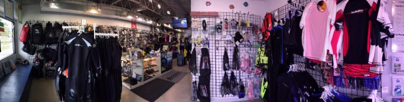 Huge selection of gear for scuba diving and snorkeling.