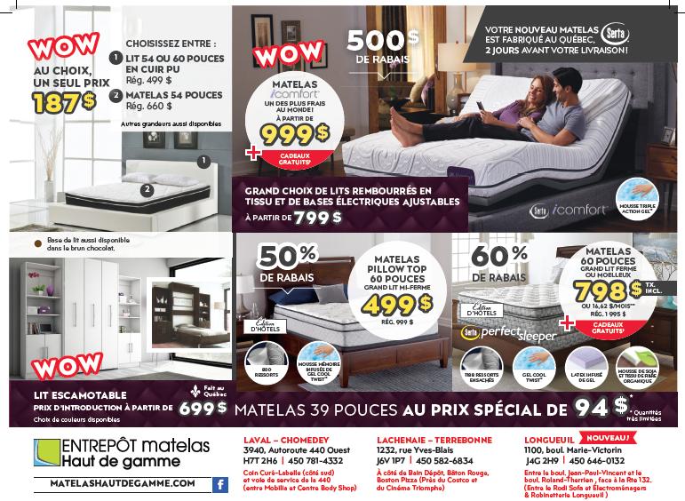 entrep t du matelas haut de gamme horaire d 39 ouverture 3940 desste sud aut 440 o laval qc. Black Bedroom Furniture Sets. Home Design Ideas