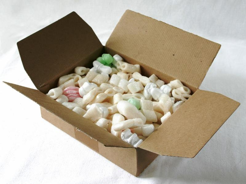 Box with foam popcorn for fragile items