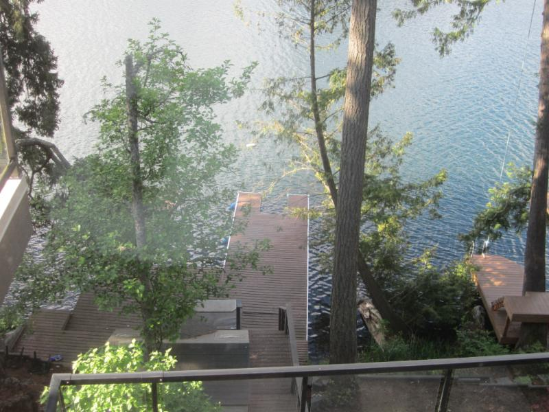 The view from one of the large executive lakefront homes
