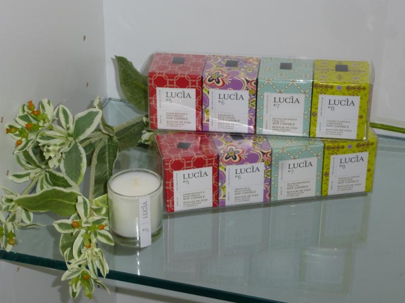 Ensemble cadeau de chandelles aromatiques de marque Lucia. Fait au Québec