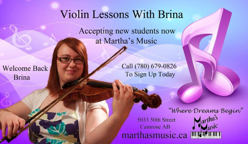 Music Lessons are available for Piano, Violin, Drums, Acoustic or Electric Guitar, and Bass Guitar. Call (780) 679-0826 to sign up today.