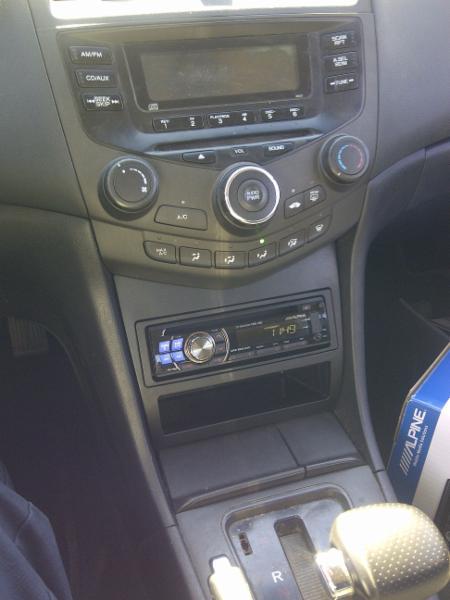 2003-07 Honda Accord Alpine radio mounted in lower dash storage compartment