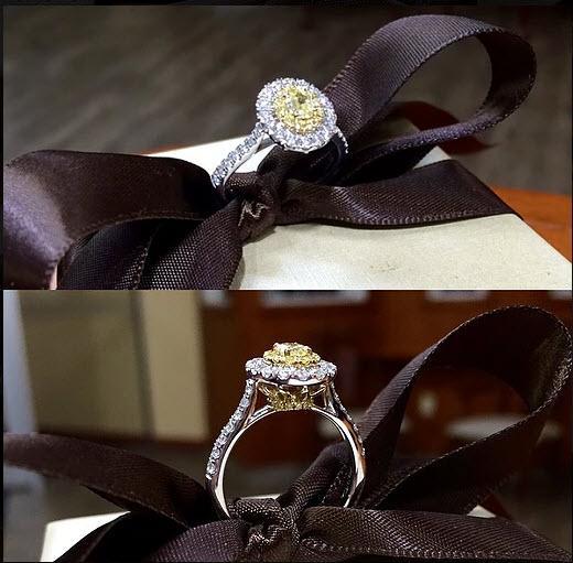 Two Tone Yellow & Diamond Ring