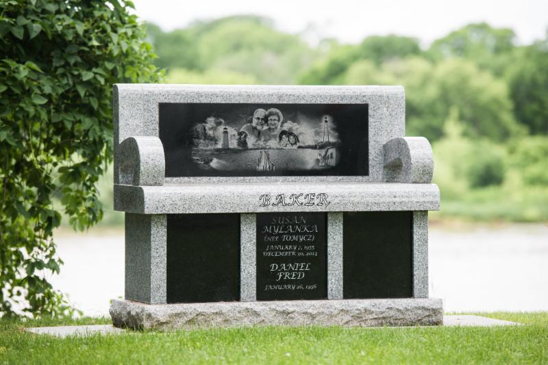 Private Estate Bench Columbarium installed in Elmwood cemetery