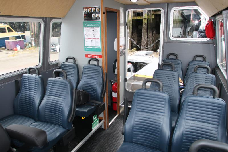 Interior Photo of the Lelu / Kitson 12 Passenger Jet Boat.