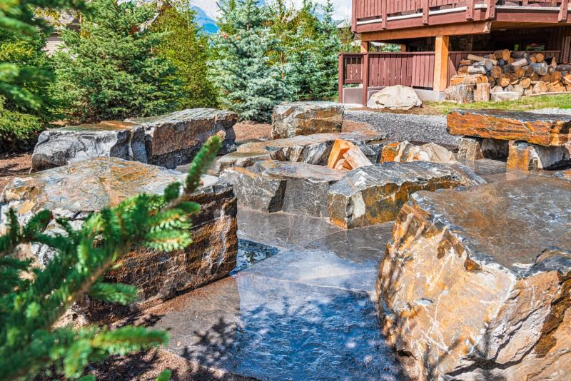 Flagstone Patio, Stone Seating, Rock Fire Pit, White Spruce, Colorado Spruce, Front Yard Landscaping, Side Yard Landscaping, Backyard Landscaping Ideas, Image, Landscaping, Construction, Solkor, Canmore, Banff