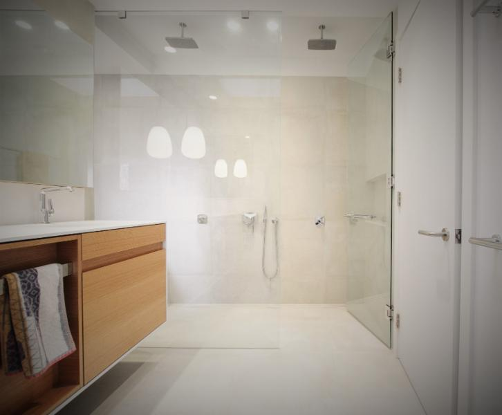 Modern frameless shower