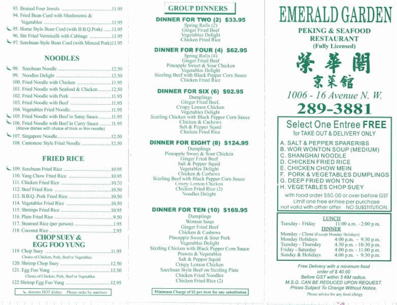 Emerald Garden Restaurant Inc Calgary Ab 1006 16 Ave