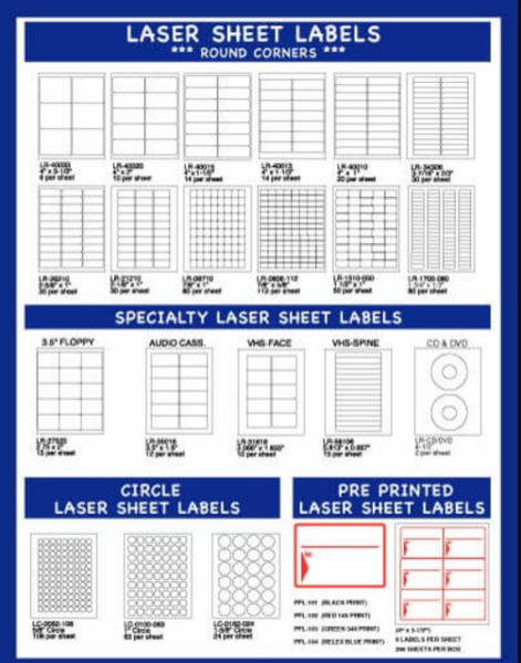 Laser Label Sheets