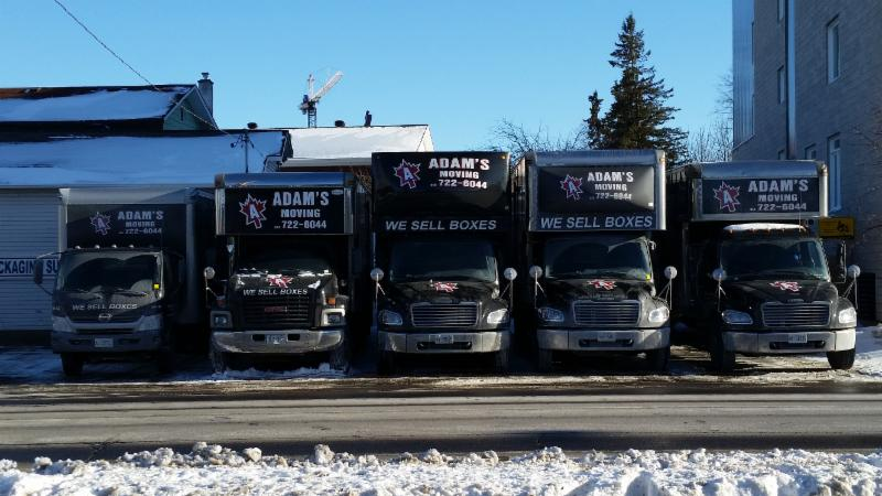 Our fleet of trucks from Adam's Moving.