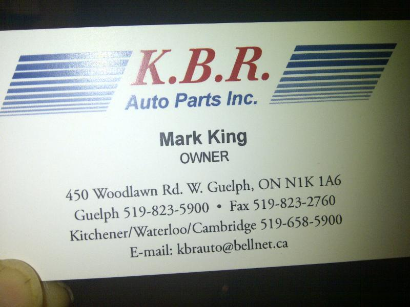 Kbr Auto Parts Inc Guelph On 450 Woodlawn Rd W Canpages