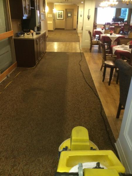 Restaurant area carpets-before and after