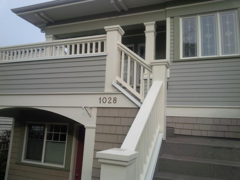 Custom built stair railings and landing, for a heritage home in Victoria, BC.  These were  designed to complement the look of the house, with traditional detailing, and professional finishing.