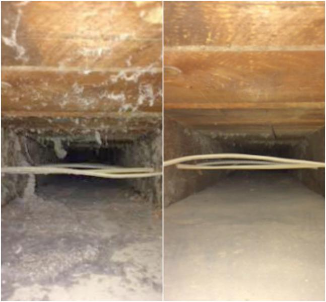 Before and After Sealed Joist Cleaning