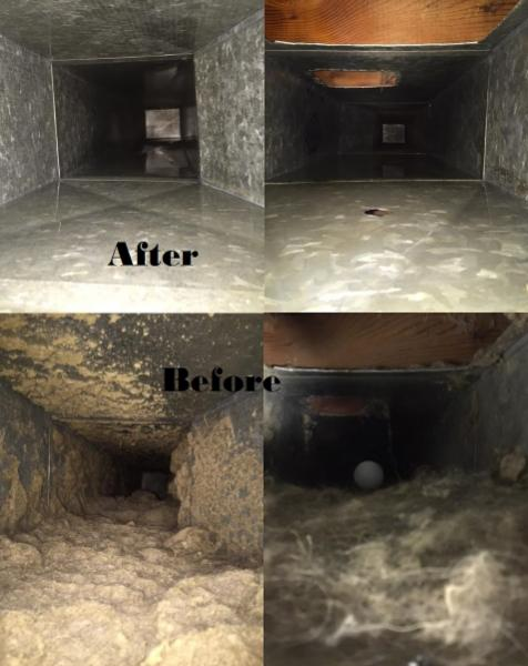 Before and After Duct Cleaning